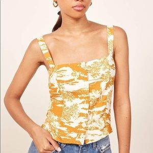 REFORMATION Yara Top Naked Lunch Yellow Medium M